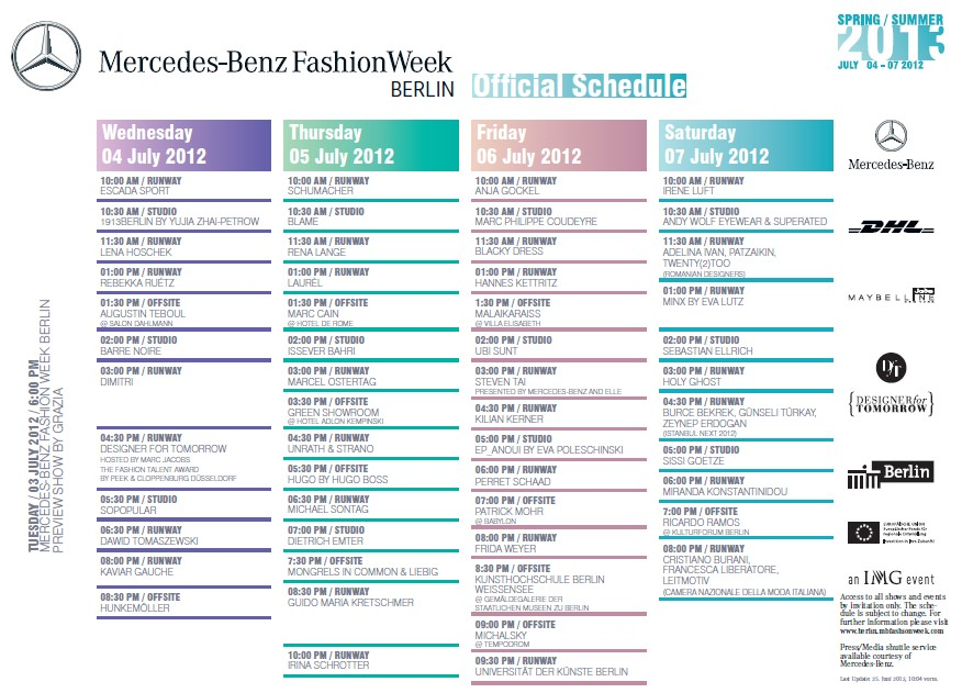 Mercedes benz fashion week spring summer 2013 schedule for Mercedes benz schedule a