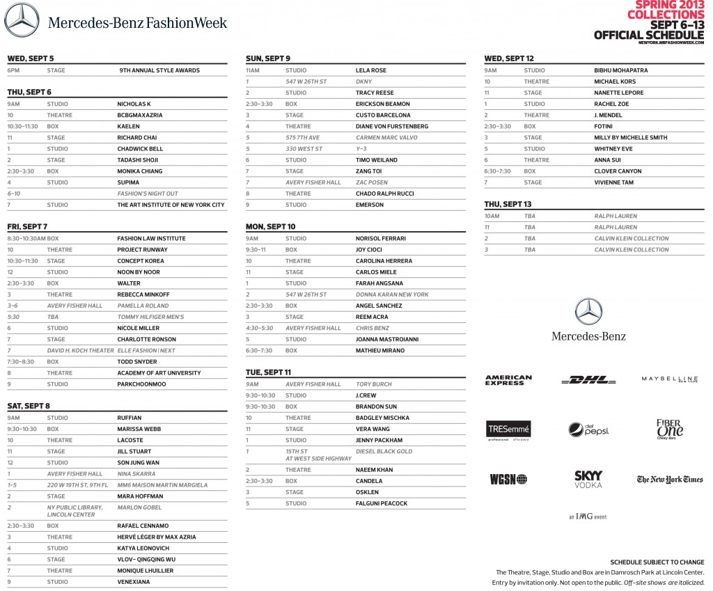 Mercedes Benz Fashion Week Schedule - New York City - Sept 2012