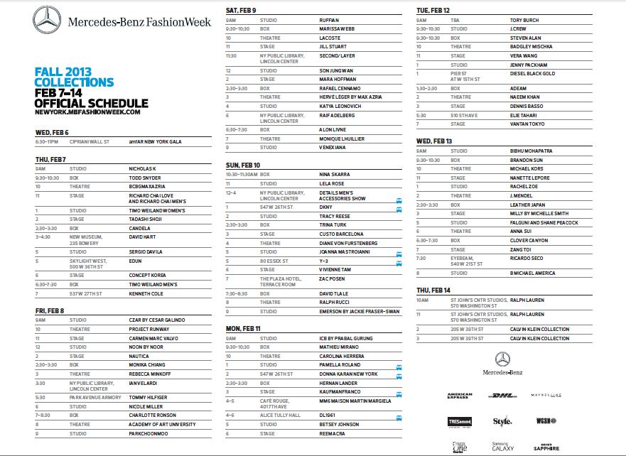 Mercedes Benz Fashion Week in New York City - Fall/Winter 2013/2014 - Schedule