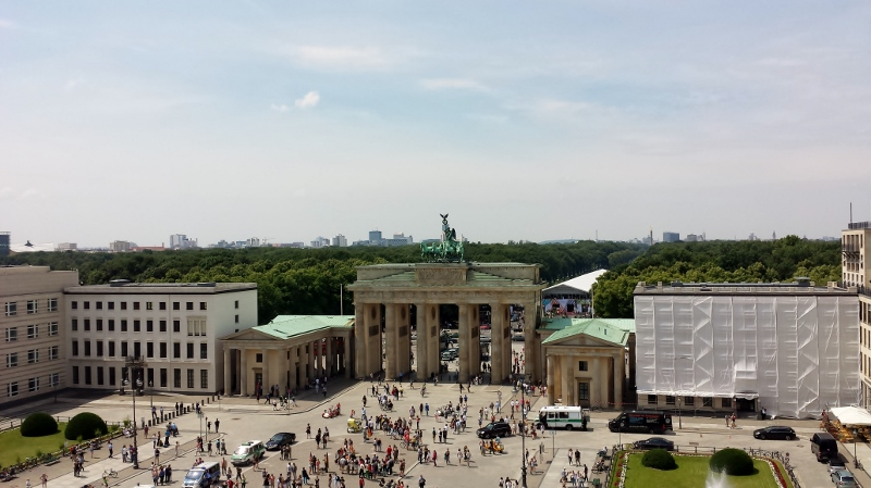 Brandenburger Tor and Mercedes Benz Fashion Week Zelt