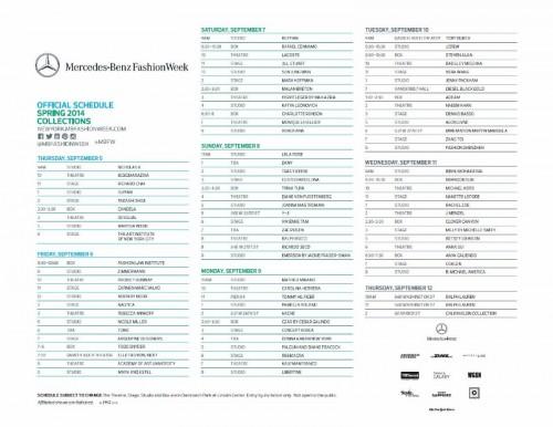 NYC Fashion Week Schedule Spring/Summer2014