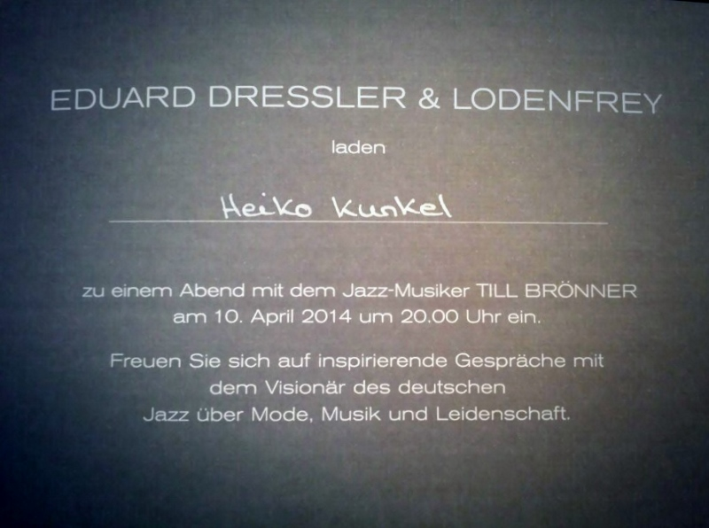 Lodenfrey + Till Brönner Invitation to Munich