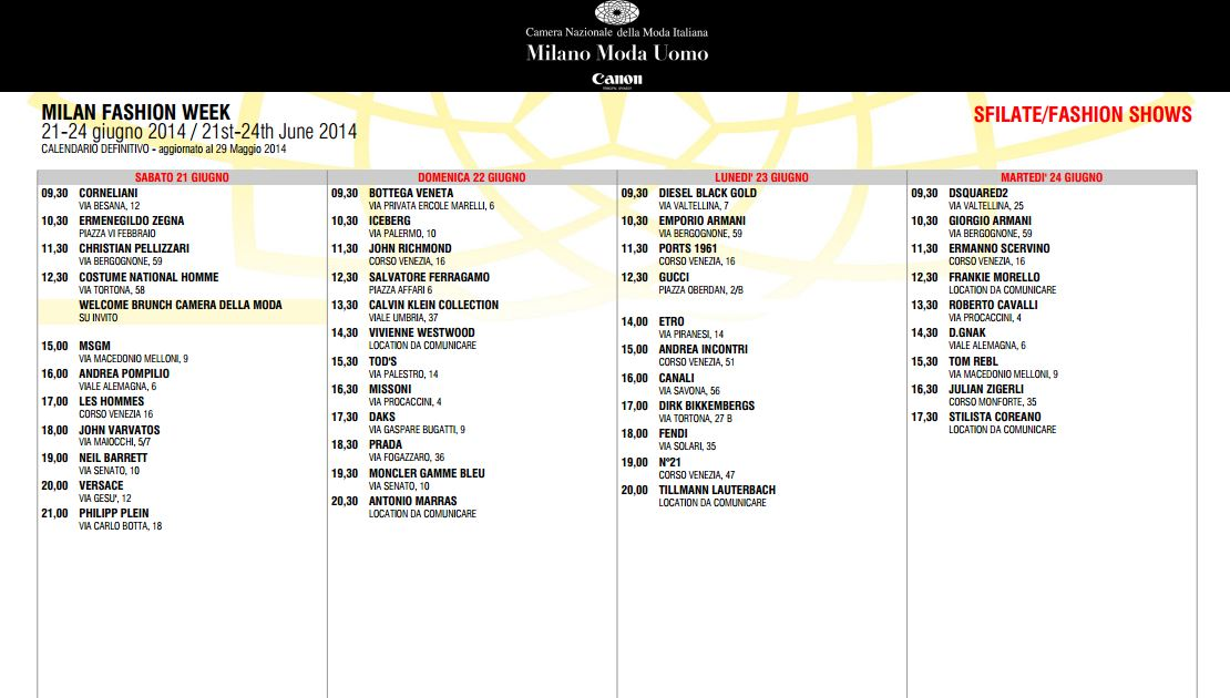 Milano Moda Uomo Spring/Summer 2015 – Schedule