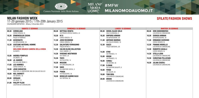 Milano Moda Uomo - Fall/Winter 2015/16 -  Schedule