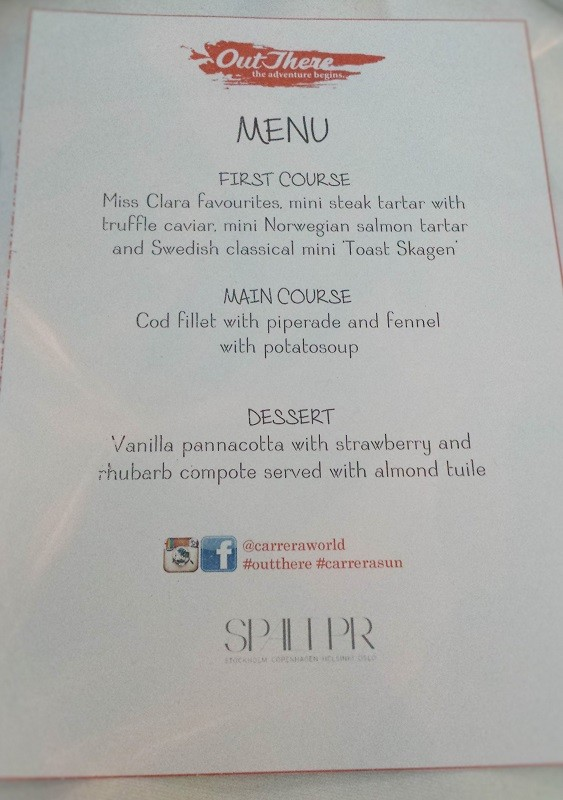Menu of the CARRERA Dinner #outthere #carrerasun