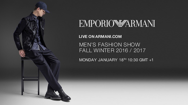 EMPORIO ARMANI_ FW2016 MEN'S SHOW_ LIVESTREAMING IMAGE