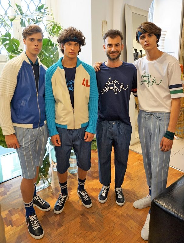 Luca Larenza with models Spring/Summer 2018 – Milano Moda Uomo