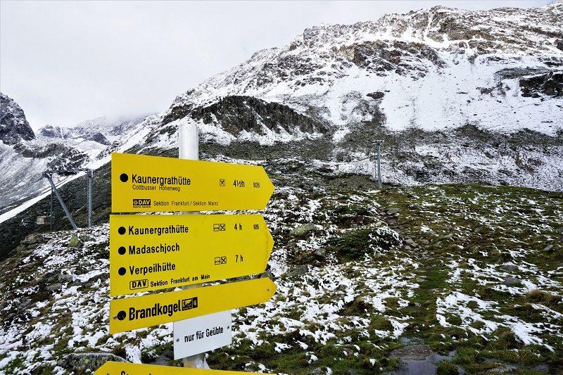 Einstieg zum Cottbuser-Höhenweg vom Rifflsee im Pitztal