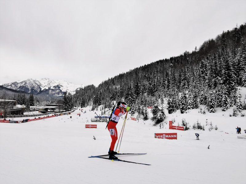 Auf der Strecke Biathlon Sprint der Herren in Hochfilzen - Fieberbrunn