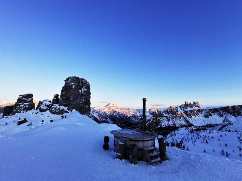 Hot Tube auf der Hütte Rifugio Scoiattoli in Cortina d'Ampezzo