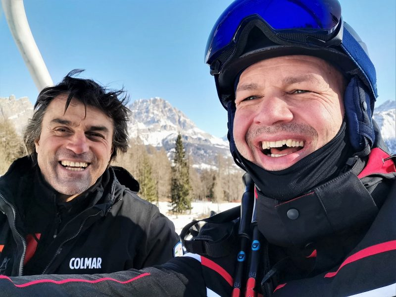 Im Lift mit Kristian Ghedina in Cortina d'Ampezzo