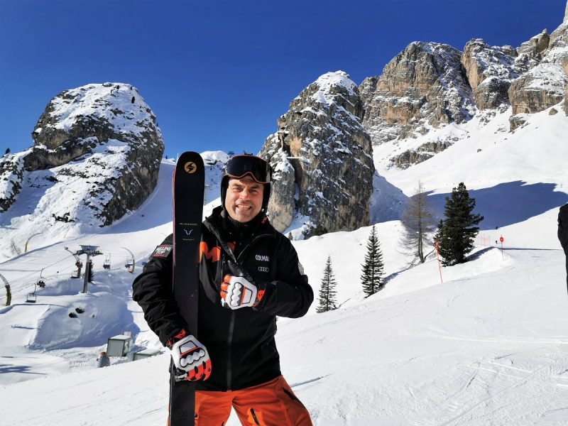 Kristian Ghedina vor dem Tofana in Cortina d'Ampezzo