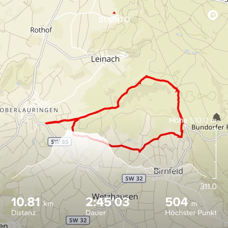 Übersicht Suunto Geologieweg im Landkreis Schweinfurt - Laubhügel