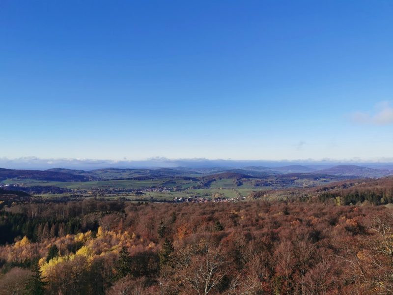 Aussicht am Nachmittag auf der Extratour Guckaisee in der Rhön